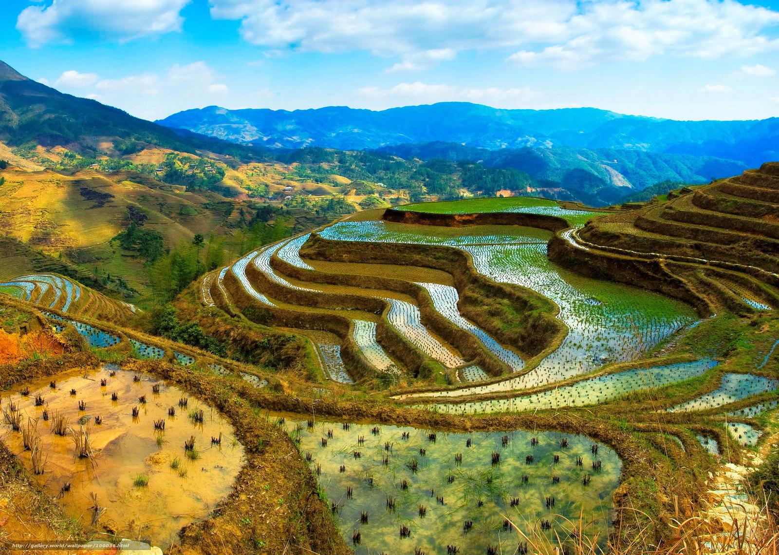 Скачать обои китай,  огород,  горы,  облака бесплатно для рабочего стола в разрешении 2000x1424 — картинка №100036