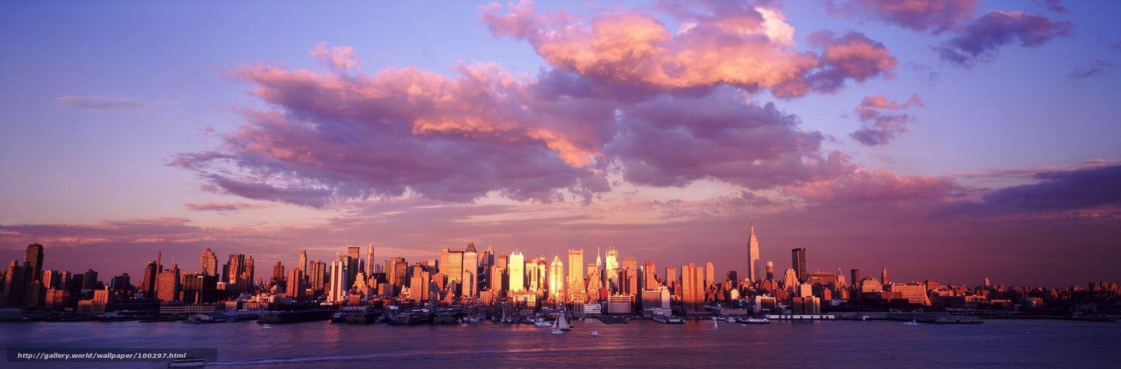 download wallpaper city, panorama, clouds free desktop wallpaper in