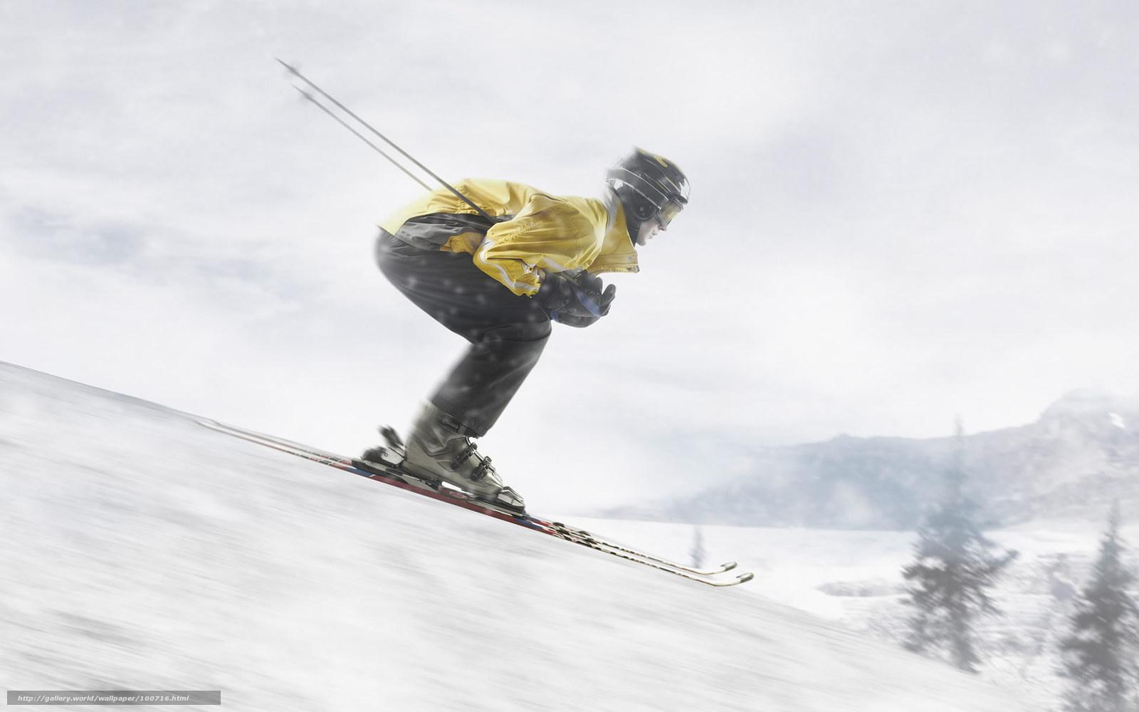 Скачать обои лыжи, спуск, снег бесплатно для рабочего стола в разрешении  1920x1200 — картинка №100716 0a727fce9f7