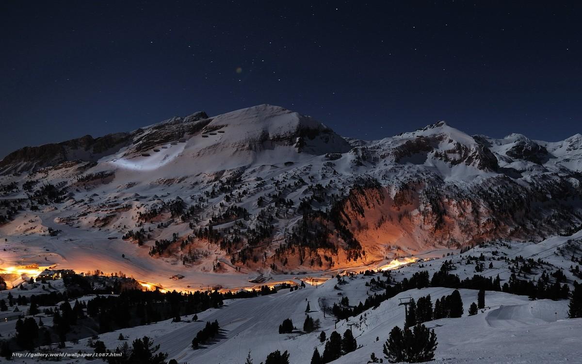Scaricare Gli Sfondi Montagne Neve Notte Stella Sfondi Gratis