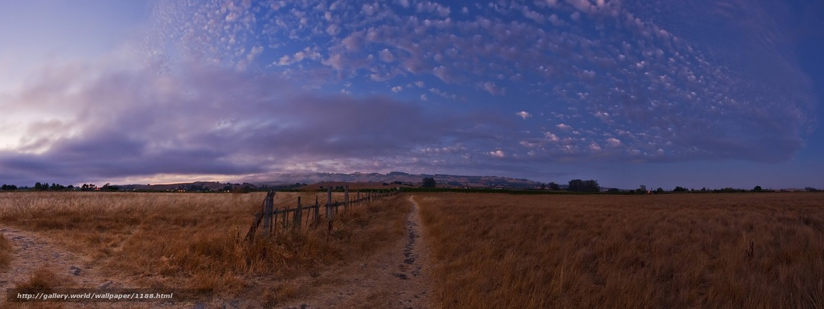 Скачать обои поле,  небо,  вечер бесплатно для рабочего стола в разрешении 3200x1200 — картинка №1188