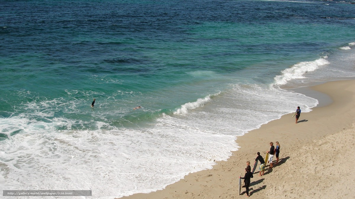 Скачать обои пляж,  песок,  море,  волные бесплатно для рабочего стола в разрешении 1920x1080 — картинка №126