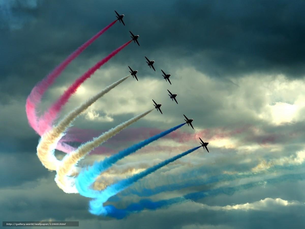 Скачать обои самолеты,  облака,  цвет,  шлейф бесплатно для рабочего стола в разрешении 1600x1200 — картинка №12965