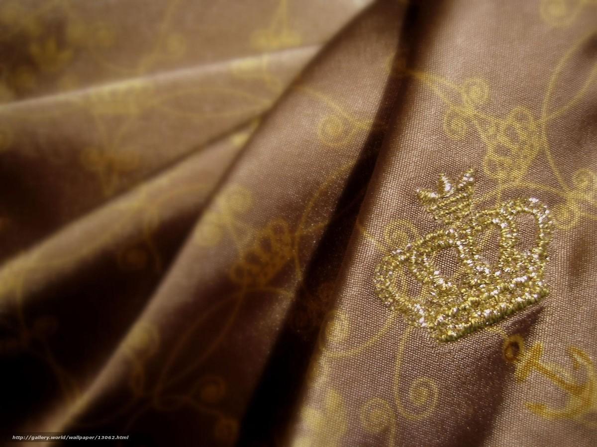 Скачать обои корона,  золото,  ткань бесплатно для рабочего стола в разрешении 2048x1536 — картинка №13062