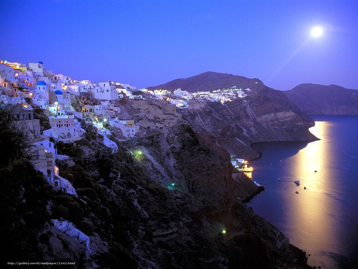 Скачать обои греция,  санторини,  луна бесплатно для рабочего стола в разрешении 1600x1200 — картинка №1342
