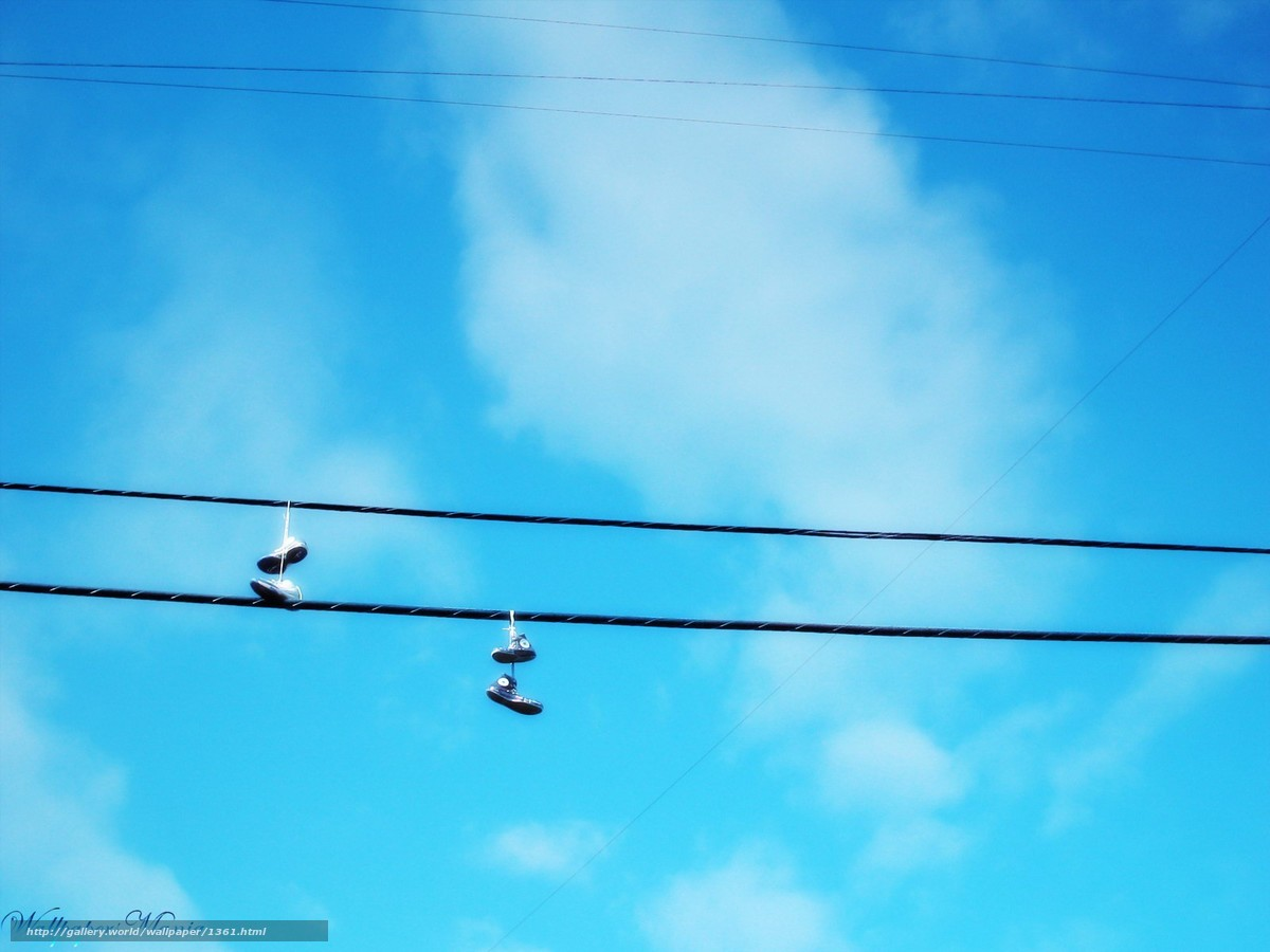 Download wallpaper wire,  shoes,  sky free desktop wallpaper in the resolution 1600x1200 — picture №1361