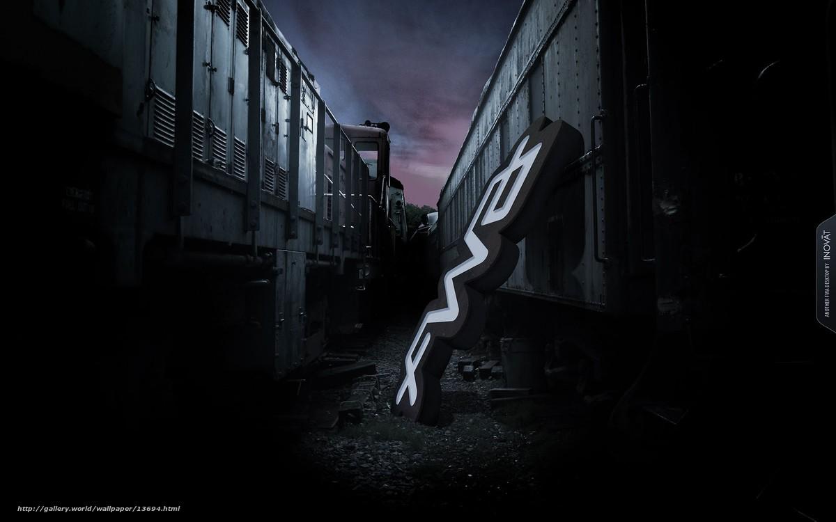 Скачать обои мрак,  локомотив,  вывеска бесплатно для рабочего стола в разрешении 1920x1200 — картинка №13694