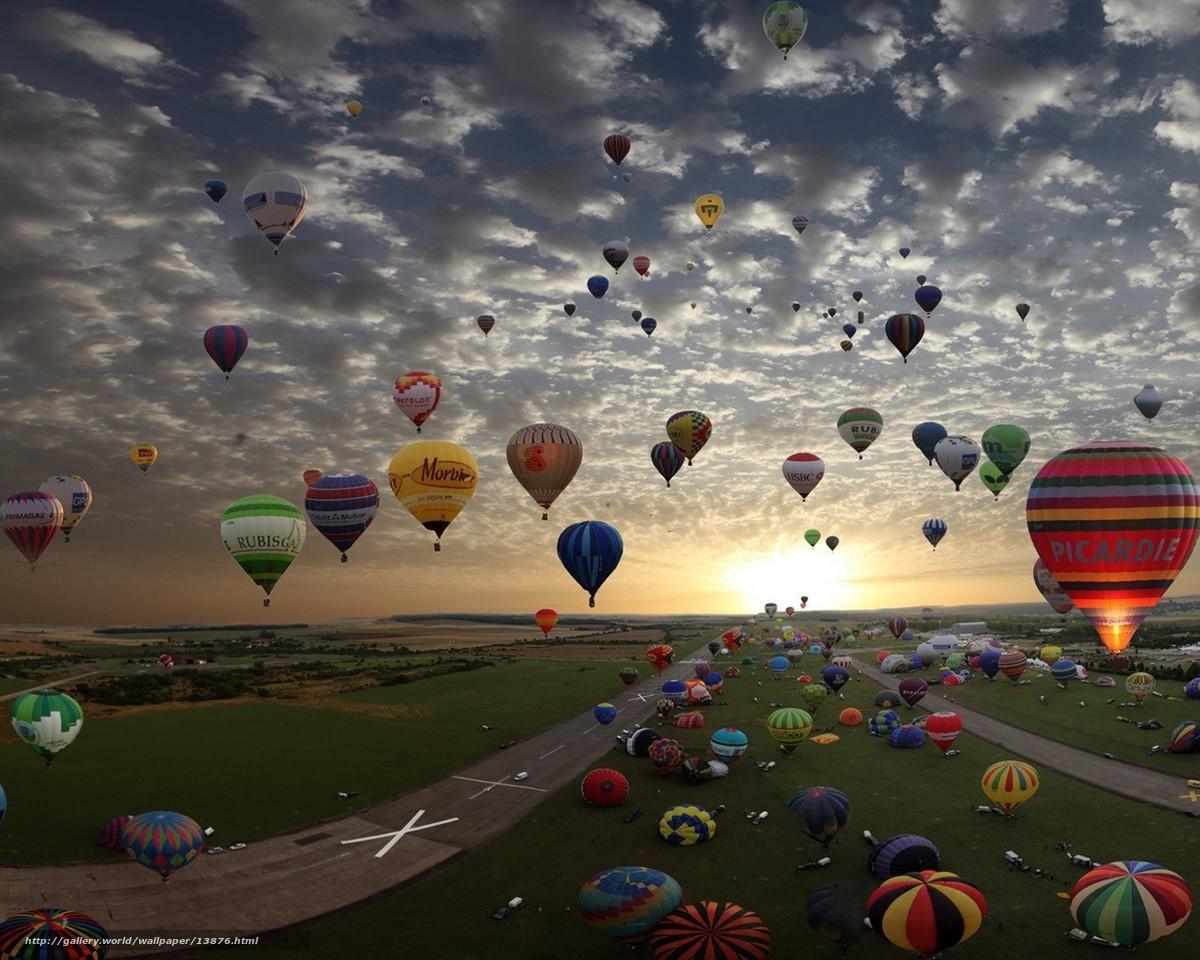 Скачать обои облака,  воздушные шары,  солнце бесплатно для рабочего стола в разрешении 1280x1024 — картинка №13876