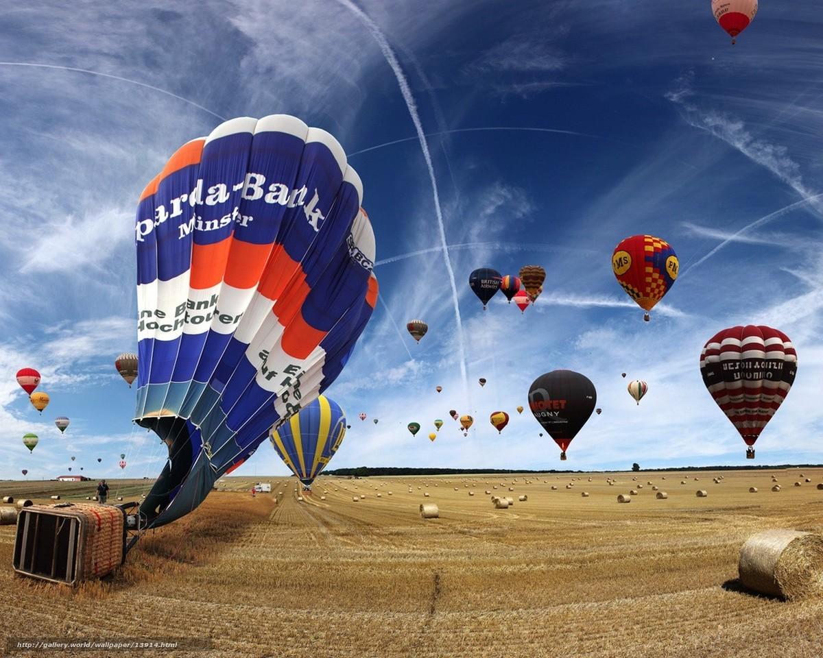 Скачать обои воздушные шары,  поле,  небо бесплатно для рабочего стола в разрешении 1280x1024 — картинка №13914