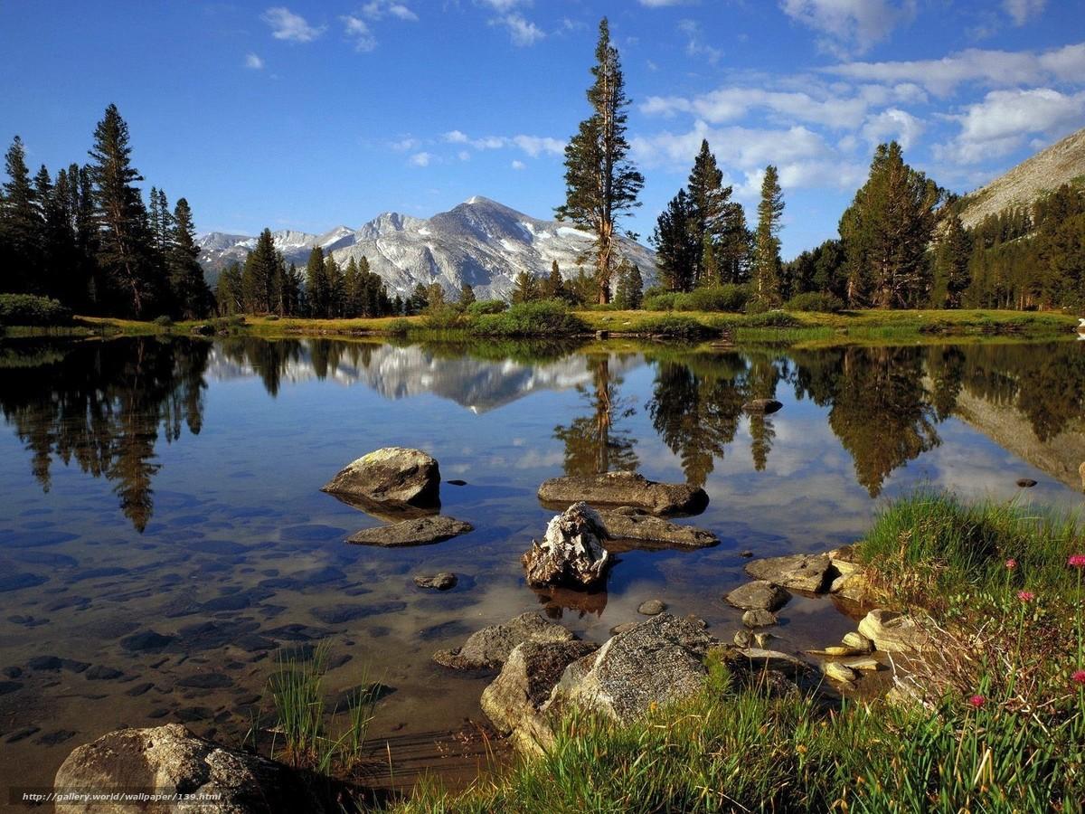 Скачать обои озеро,  прозрачная вода,  горы,  свежий воздух бесплатно для рабочего стола в разрешении 1600x1200 — картинка №139