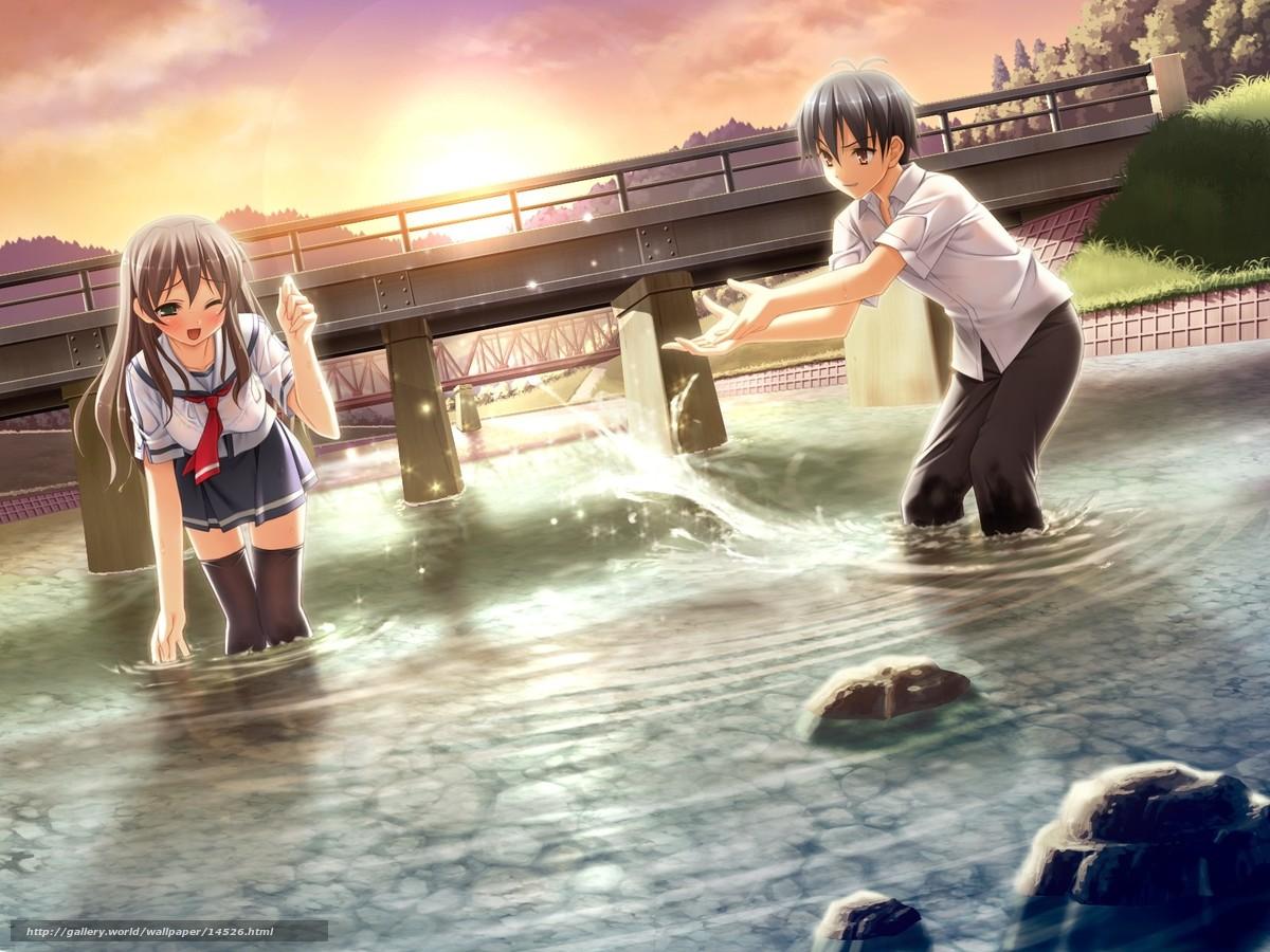 Скачать обои плескание,  речка,  мост бесплатно для рабочего стола в разрешении 1600x1200 — картинка №14526
