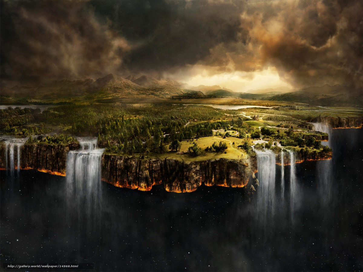 Download wallpaper ends of the earth,  waterfalls,  space free desktop wallpaper in the resolution 1600x1200 — picture №14568