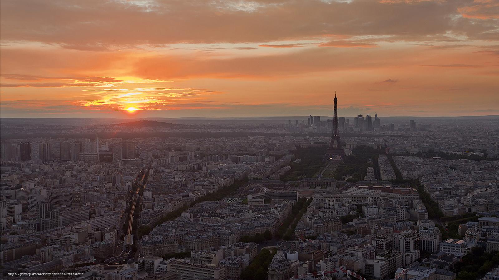 Tlcharger Fond D Ecran Paris Ville Coucher Du Soleil