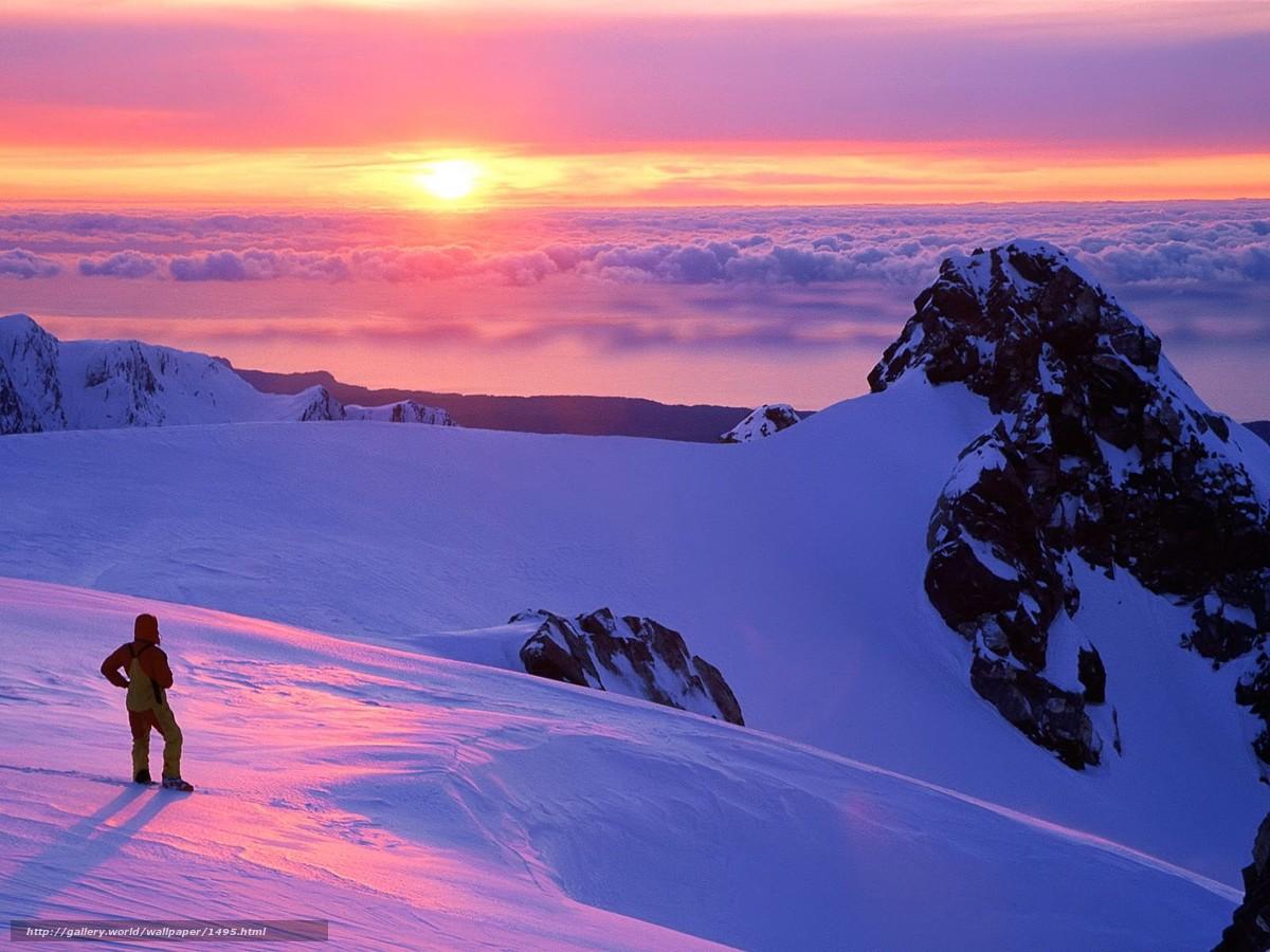 Descargar gratis puesta del sol,  Montaas,  las nubes Fondos de escritorio en la resolucin 1600x1200 — imagen №1495