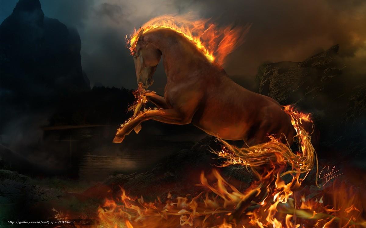 scaricare gli sfondi cavallo,  animale,  fuoco,  fiamma Sfondi gratis per la risoluzione del desktop 1920x1200 — immagine №151