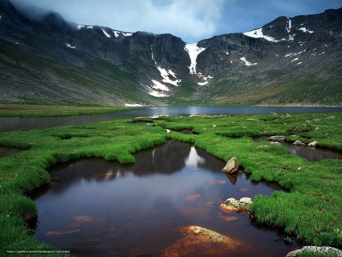 Скачать обои горы,  река,  природа,  зелень бесплатно для рабочего стола в разрешении 1600x1200 — картинка №153