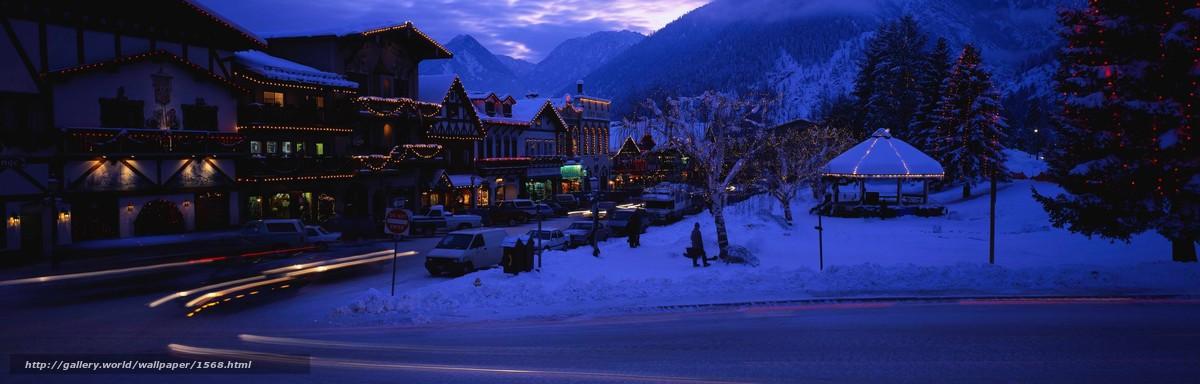 Скачать обои зима,  вечер,  новый год бесплатно для рабочего стола в разрешении 3750x1200 — картинка №1568
