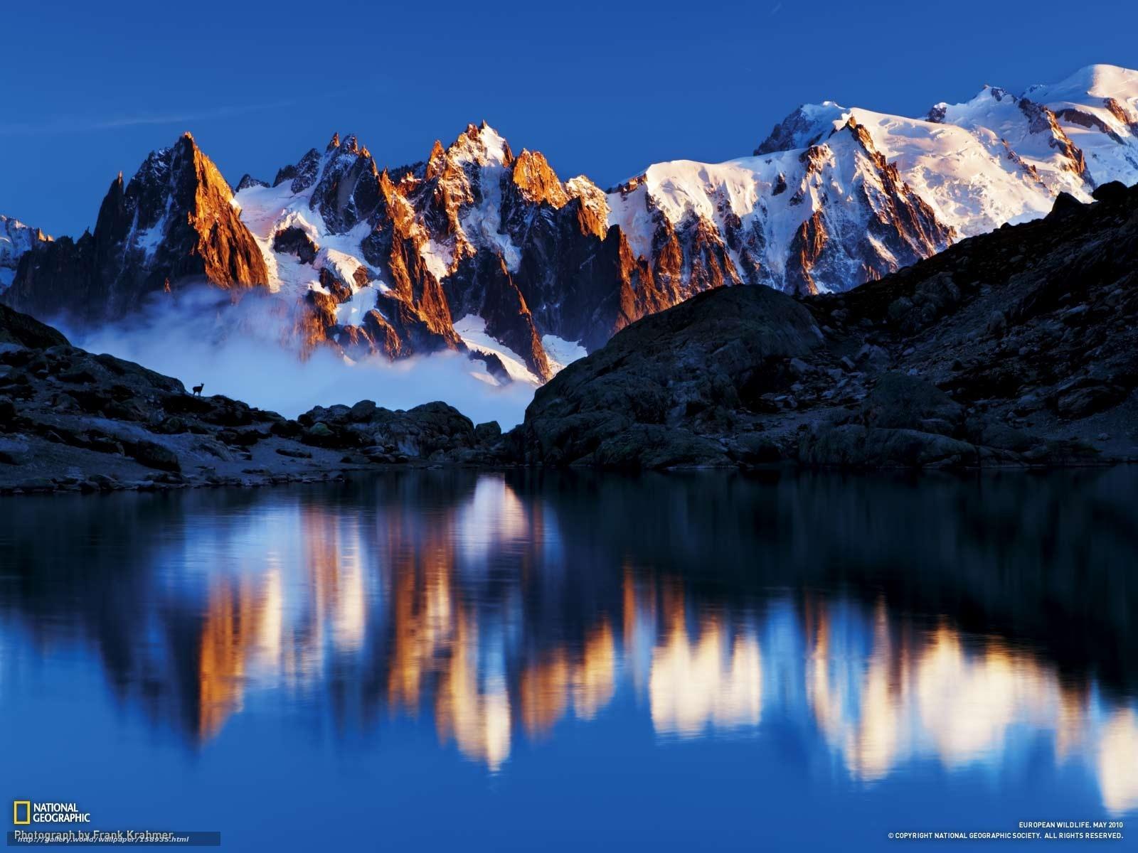 Tlcharger fond d 39 ecran montagnes neige eau rflexion for Fond ecran montagne