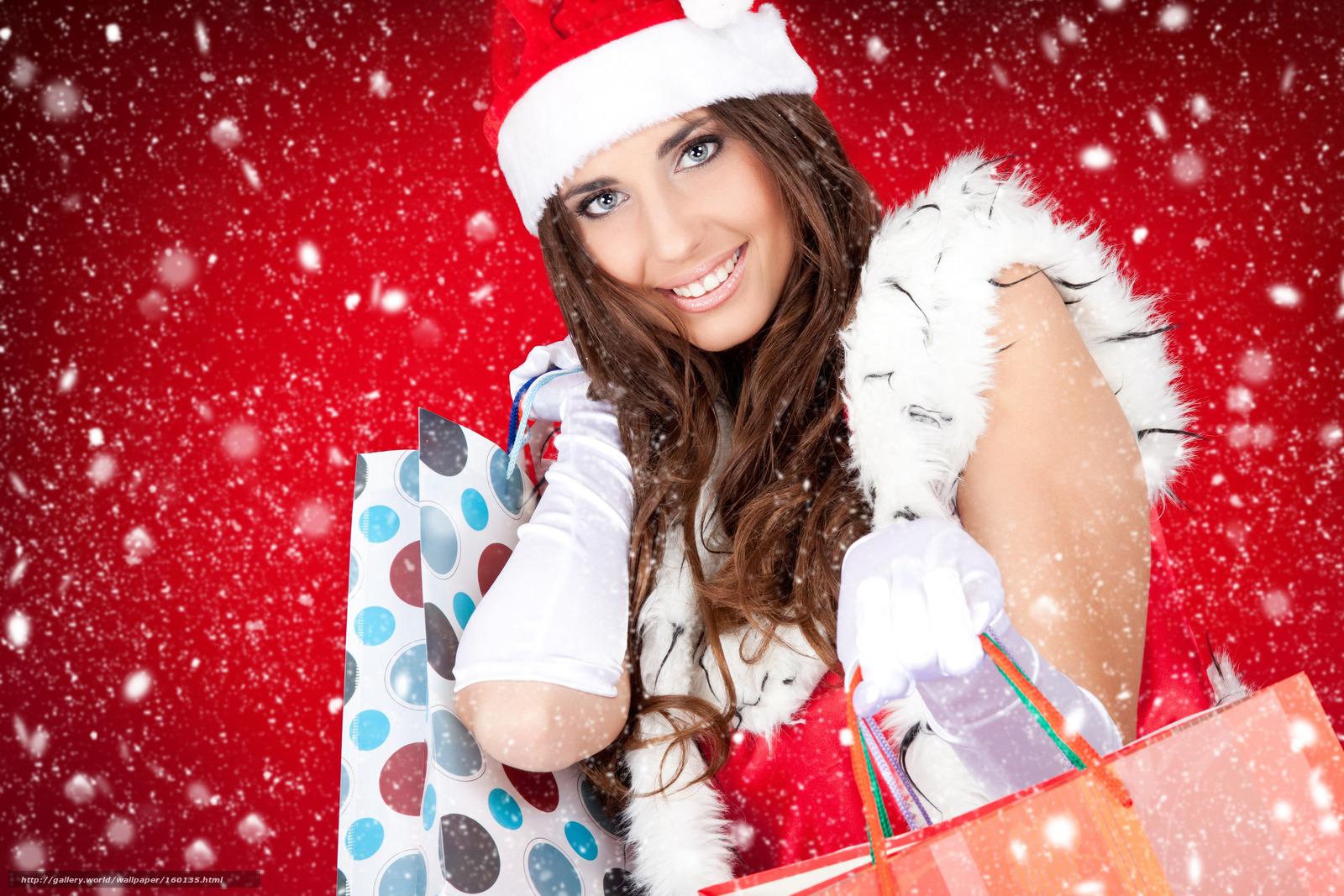 Tlcharger Fond d'ecran Nouvel An,  neige,  fille,  cadeaux Fonds d'ecran gratuits pour votre rsolution du bureau 4752x3168 — image №160135
