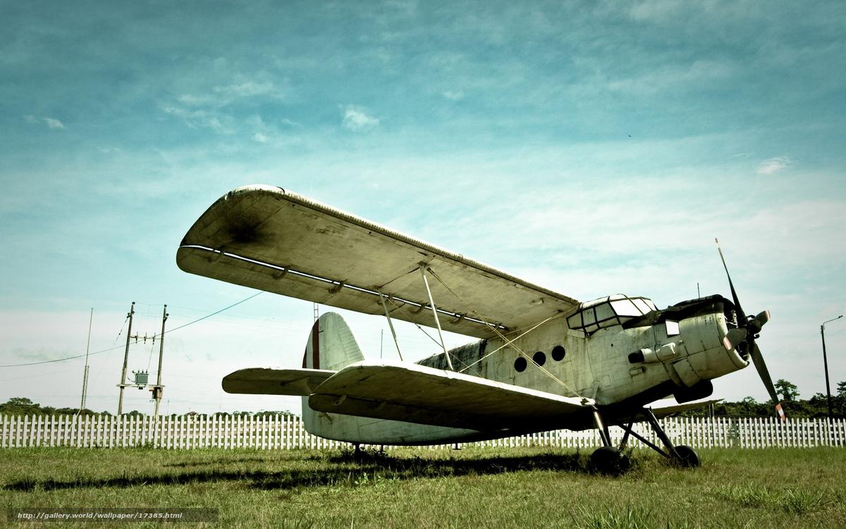 Скачать обои самолет,  забор,  небо,  трава бесплатно для рабочего стола в разрешении 2560x1600 — картинка №17385
