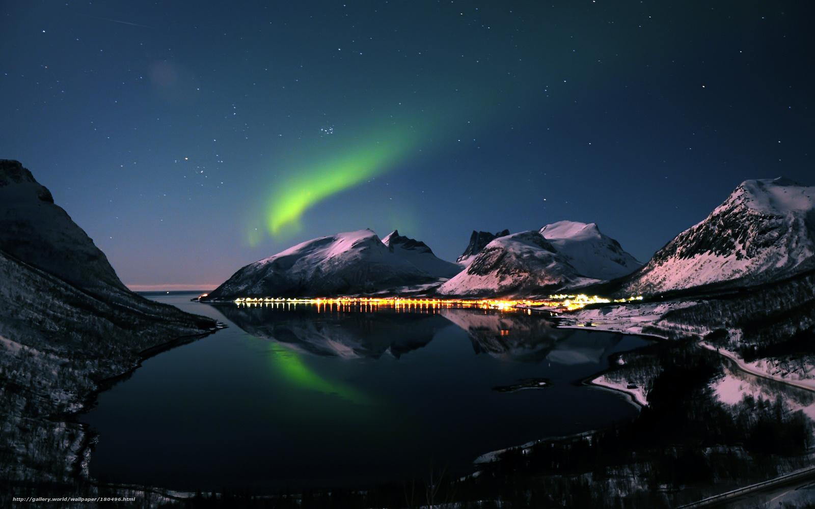 Scaricare gli sfondi notte inverno montagne aurora for Sfondi desktop aurora boreale