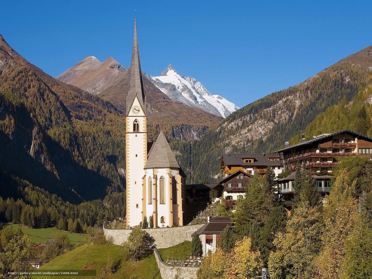 scaricare gli sfondi villaggio,  Alpi,  Austria Sfondi gratis per la risoluzione del desktop 1600x1200 — immagine №1808