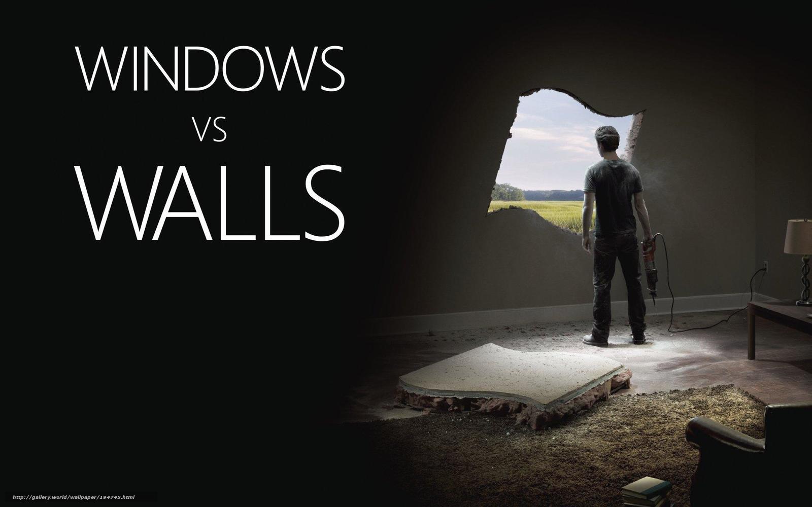 Скачать обои windows,  окно,  стена бесплатно для рабочего стола в разрешении 1920x1200 — картинка №194745