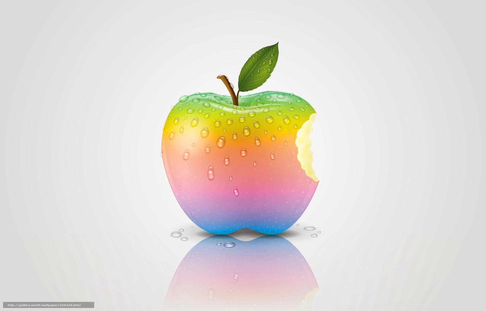 壁紙をダウンロード リンゴ,  虹,  リンゴ デスクトップの解像度のための無料壁紙 1600x1024 — 絵 №199420