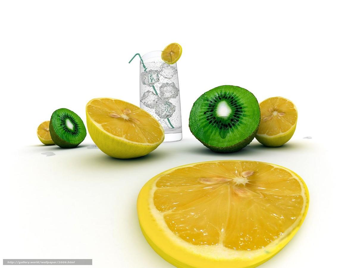 Скачать обои вода,  лимон,  пища бесплатно для рабочего стола в разрешении 1600x1200 — картинка №2009