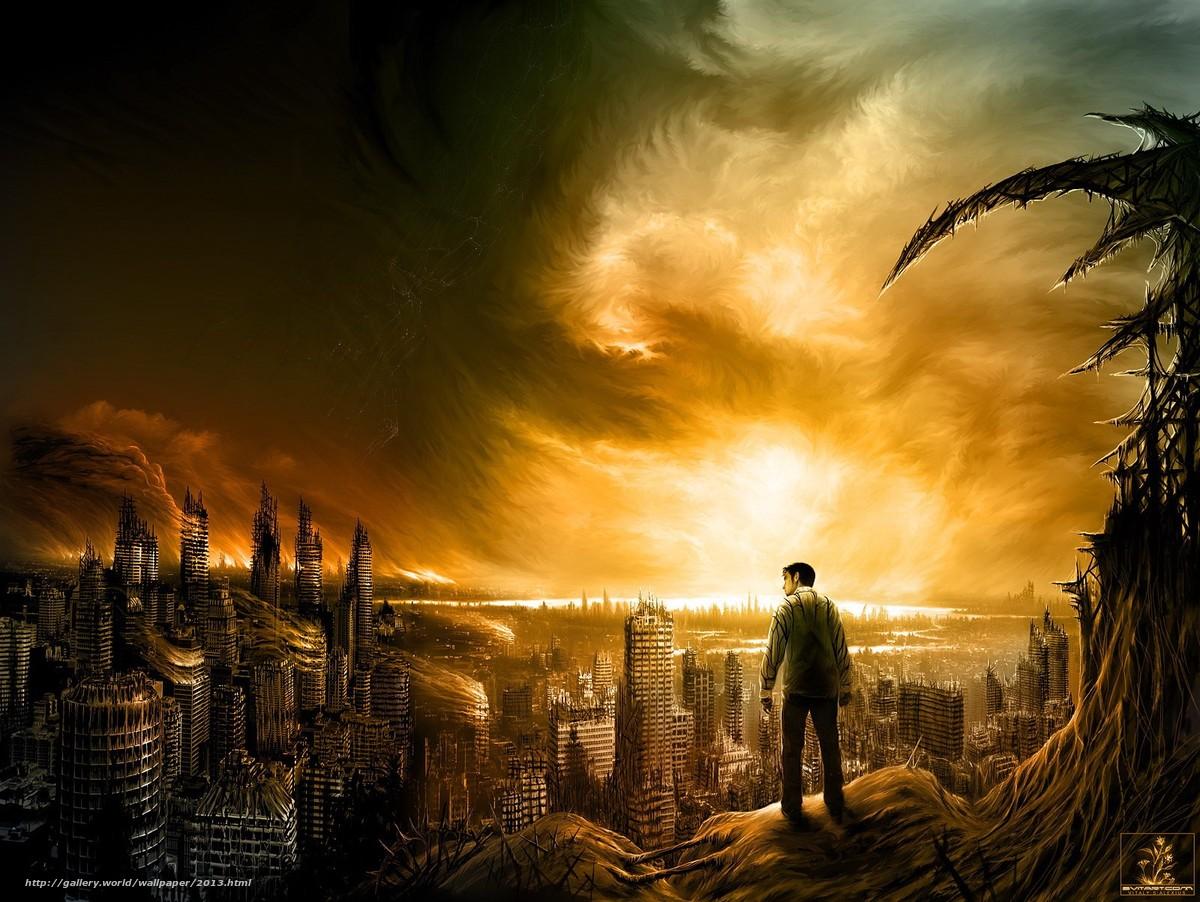 Скачать обои город,  рисунок,  небо,  человек бесплатно для рабочего стола в разрешении 1600x1202 — картинка №2013