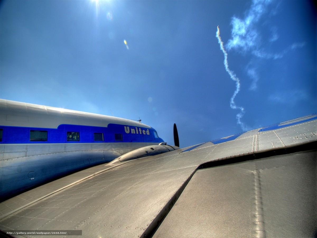 Скачать обои самолет,  крыло,  ракета,  небо бесплатно для рабочего стола в разрешении 1920x1440 — картинка №2038
