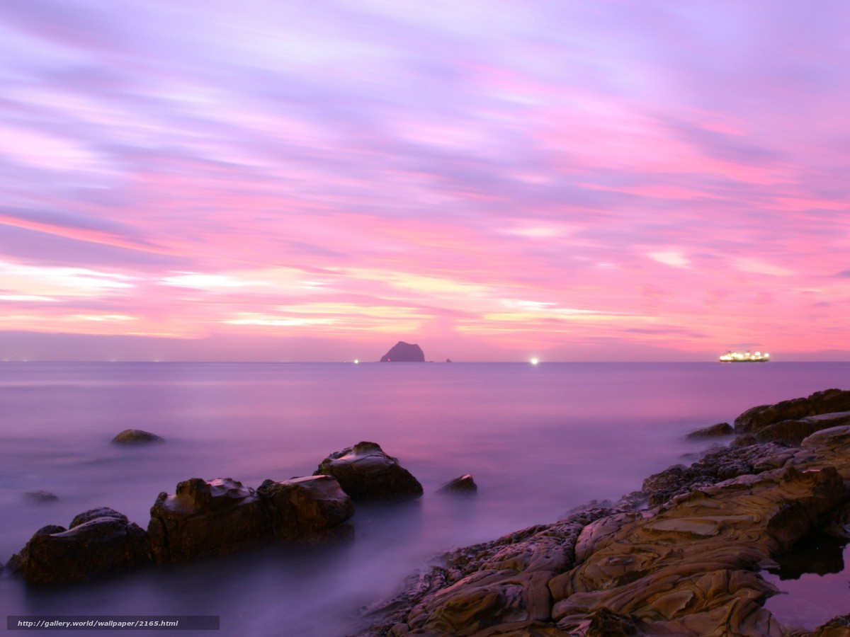 Download wallpaper sky,  horizon,  ship,  stones free desktop wallpaper in the resolution 1920x1440 — picture №2165
