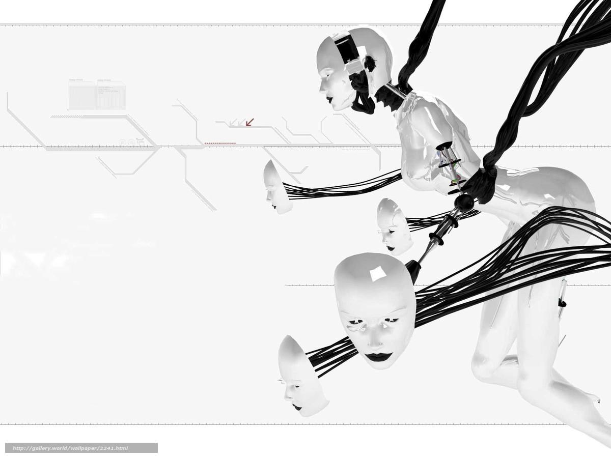 Скачать обои робот,  лица,  белый,  провода бесплатно для рабочего стола в разрешении 1600x1200 — картинка №2241