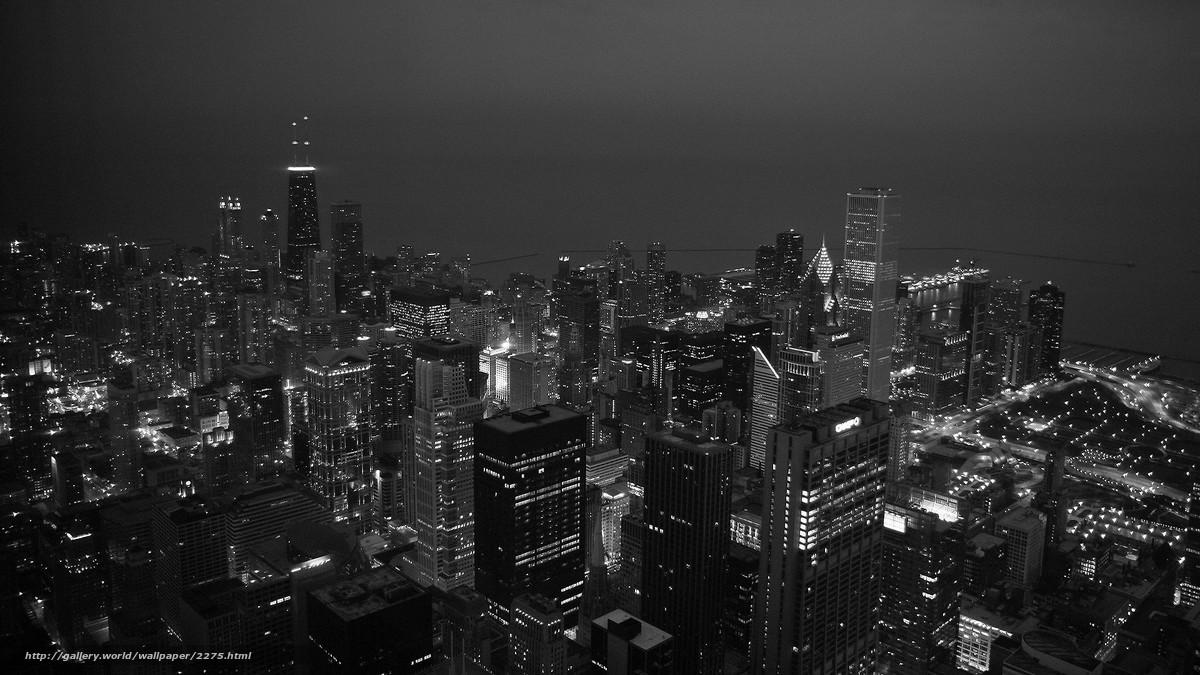 Скачать обои черно-белая,  чикаго,  вечер бесплатно для рабочего стола в разрешении 1920x1080 — картинка №2275