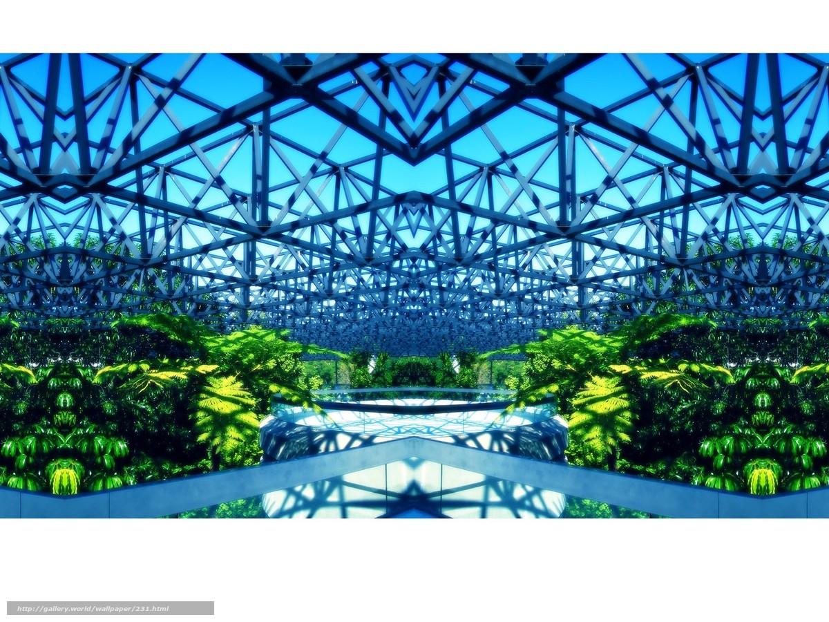 scaricare gli sfondi costruzione,  serra,  acciaio,  vegetazione Sfondi gratis per la risoluzione del desktop 1600x1200 — immagine №231