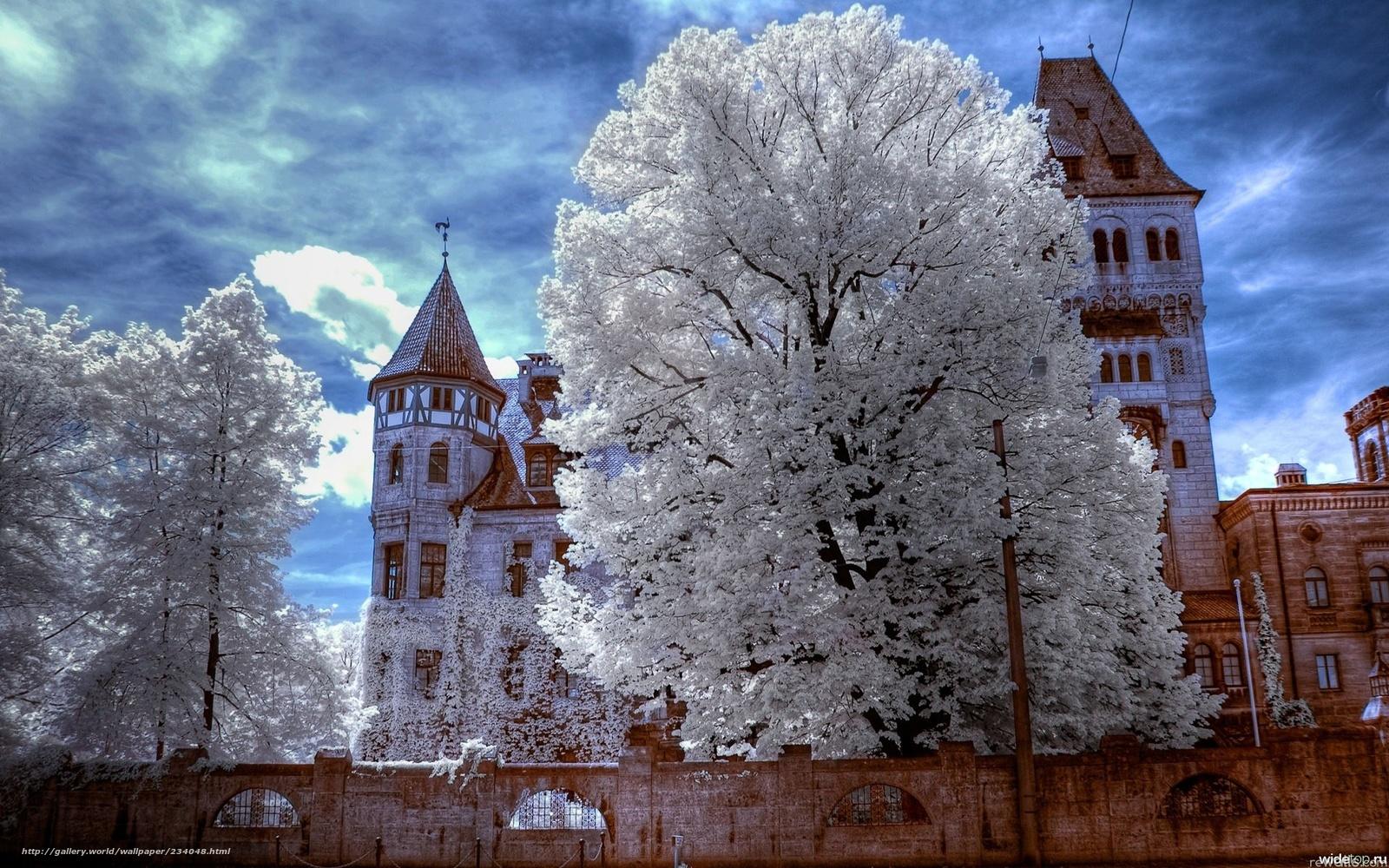 Скачать обои трансильвания,   замок дракулы,   зима,   иней бесплатно для рабочего стола в разрешении 1920x1200 — картинка №234048