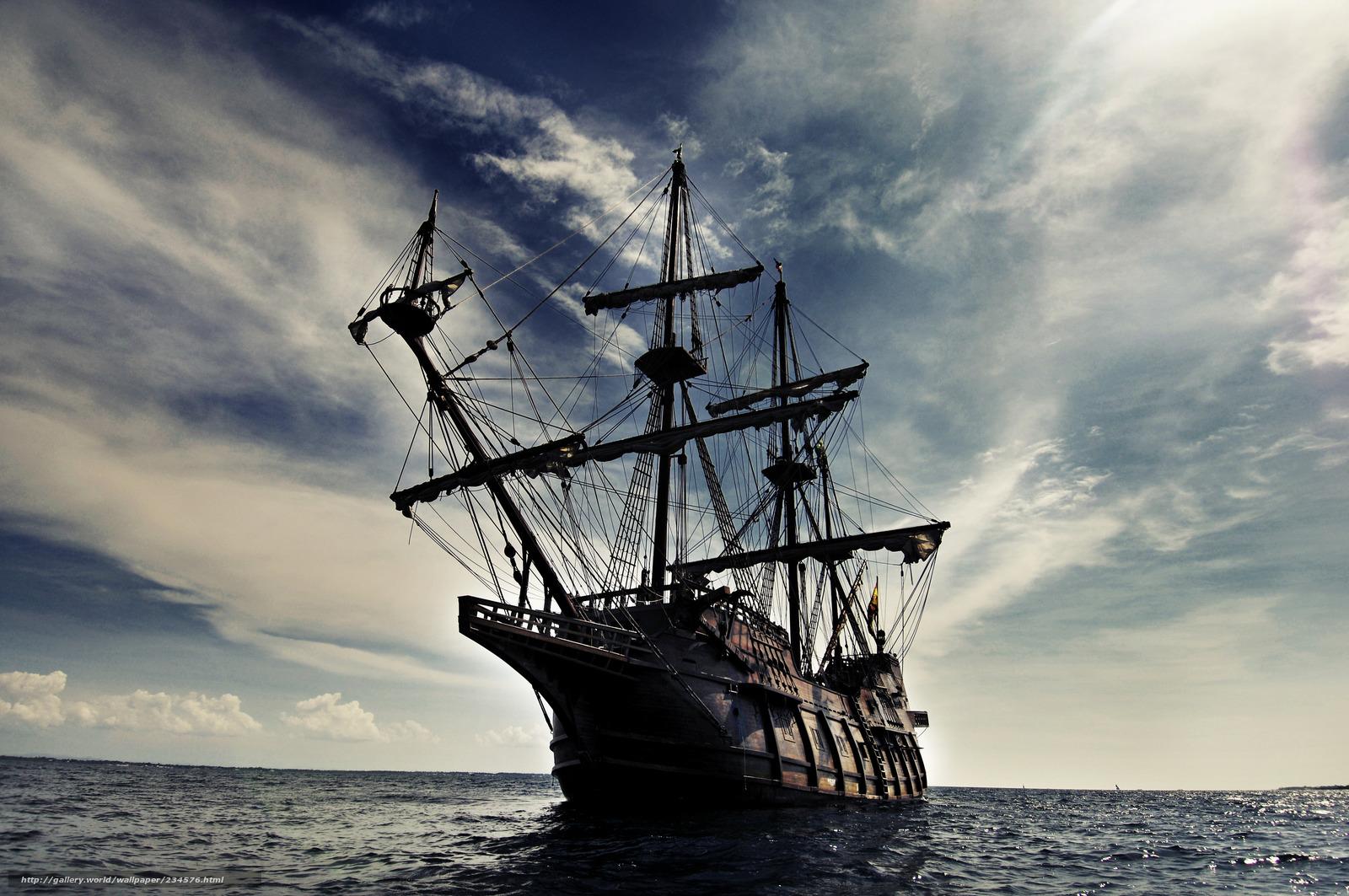 Sailing Ship on Stormy Sea Full HD Fond décran and Arrièreplan