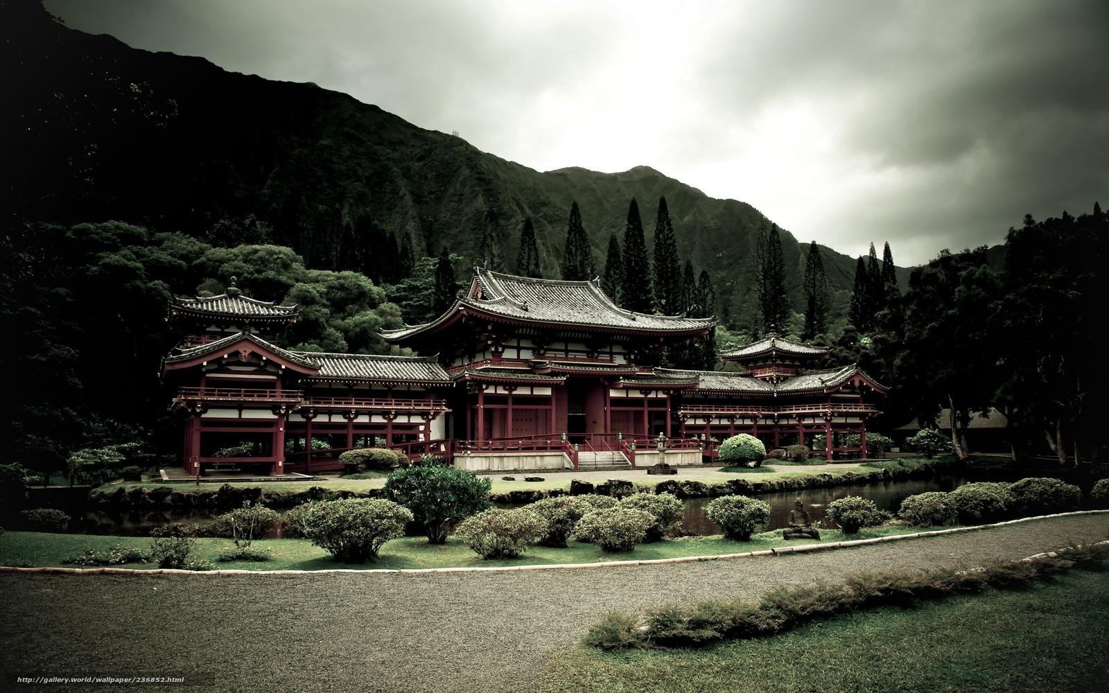 Скачать обои храм,   пагода,   горы,   лес бесплатно для рабочего стола в разрешении 2560x1600 — картинка №236852