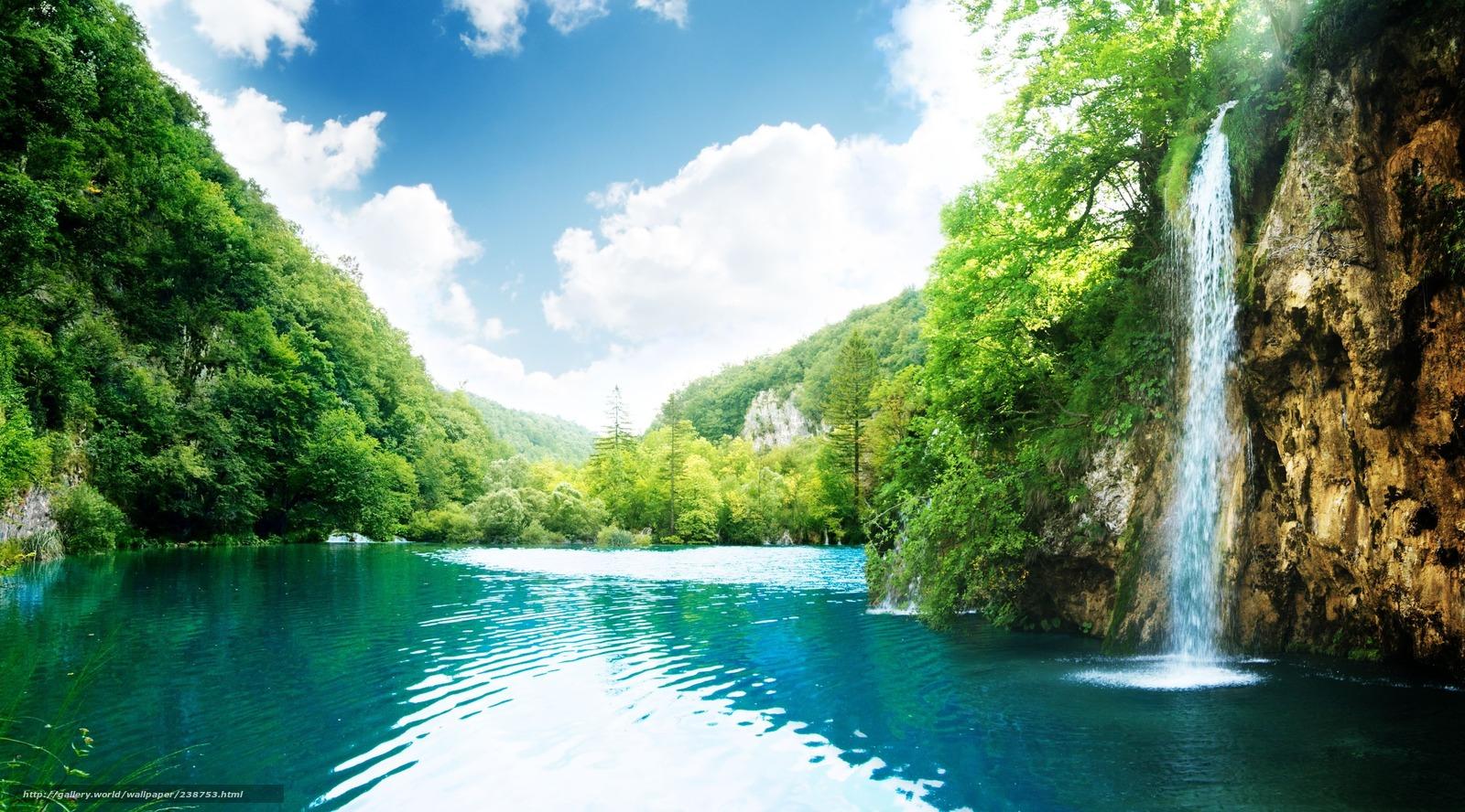 scaricare gli sfondi cascata perfetta,  paradiso,  posto,  Montagne Sfondi gratis per la risoluzione del desktop 3618x2008 — immagine №238753
