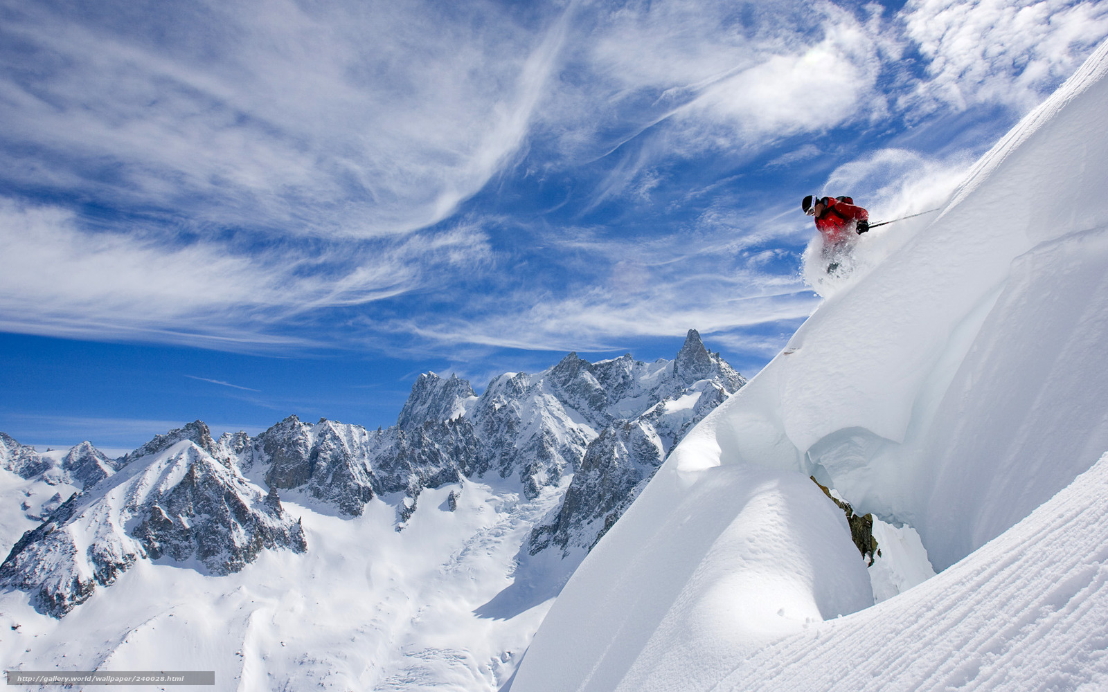 Download wallpaper Skiing,  skier,  snow,  Mountains free desktop wallpaper in the resolution 1920x1200 — picture №240028