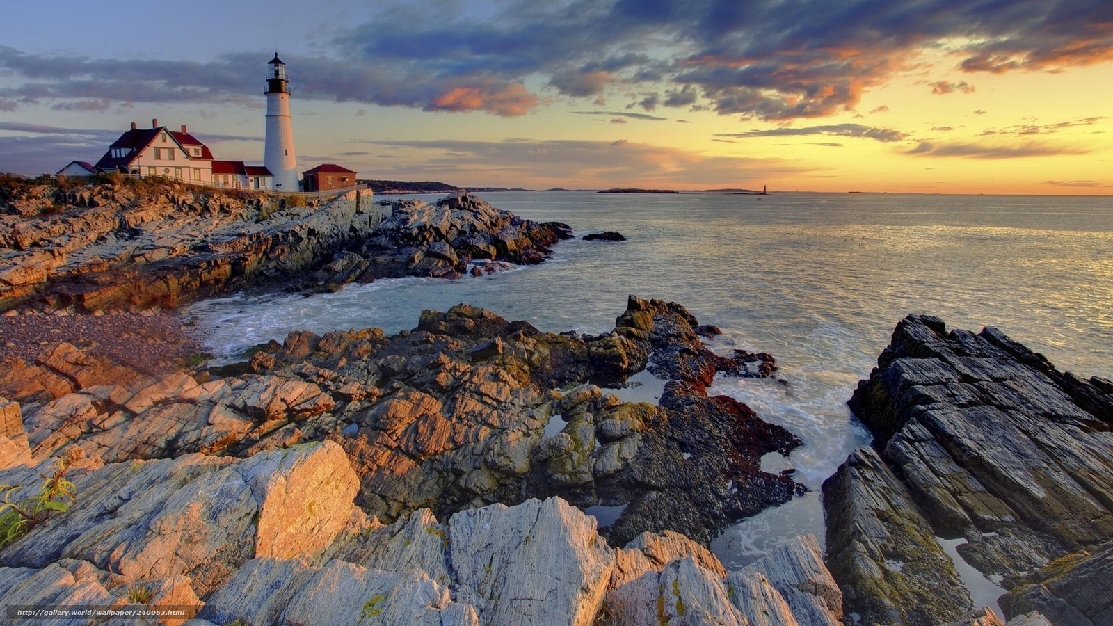Download wallpaper sea,  lighthouse,  stones,  landscape free desktop wallpaper in the resolution 1920x1080 — picture №240063