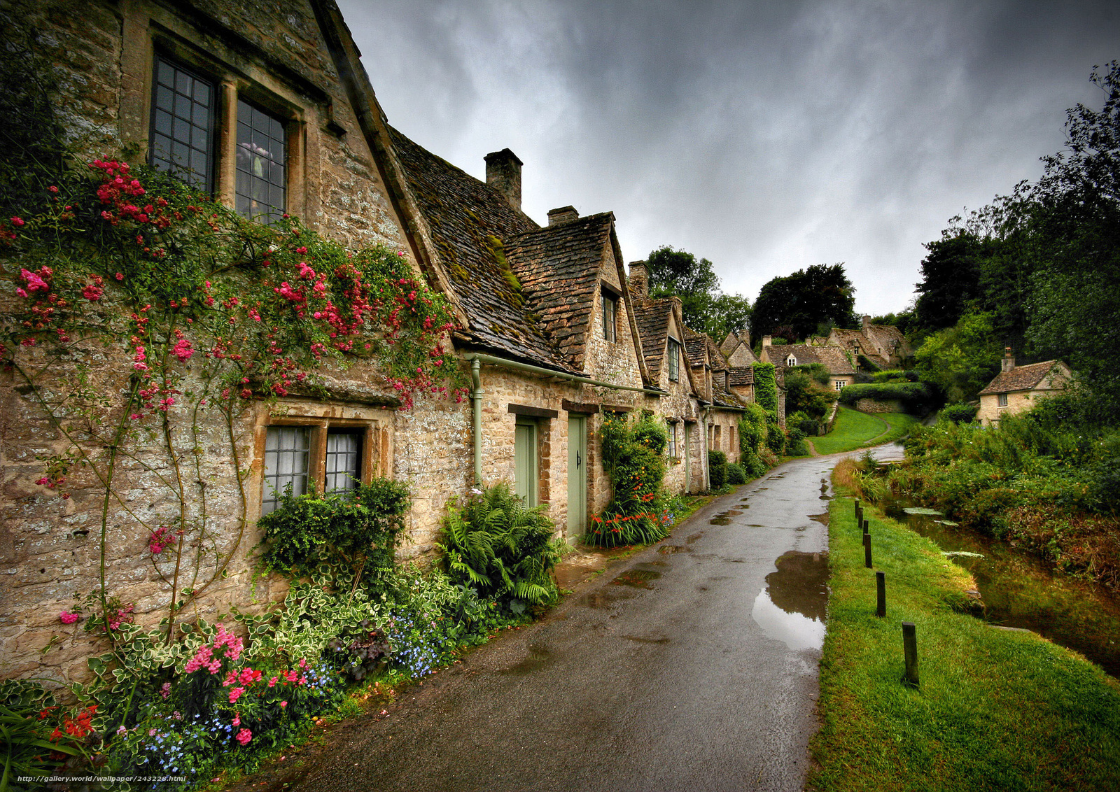 Download wallpaper England,  bibury,  rain,  summer free desktop wallpaper in the resolution 2500x1768 — picture №243228