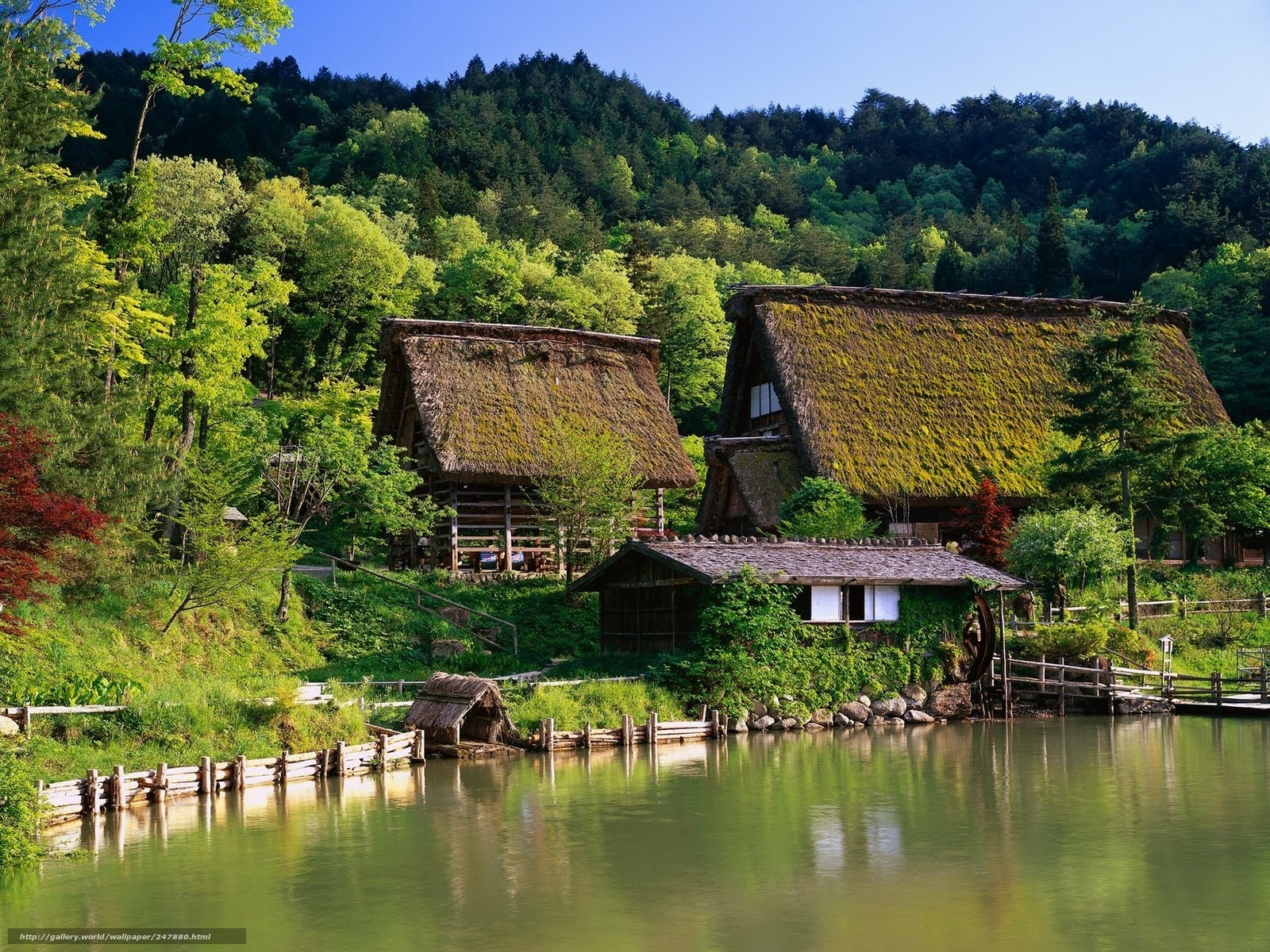 download hintergrund japan, huser, wasser, landschaft freie ... - Japanische Huser