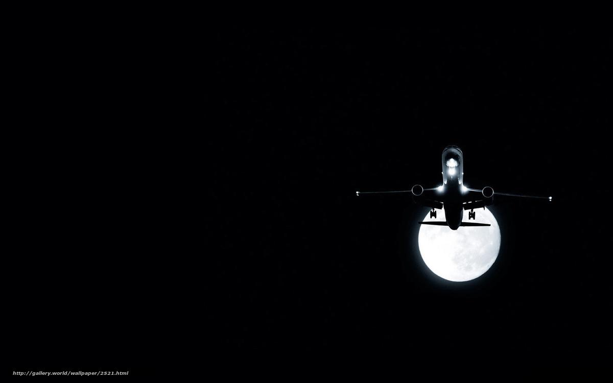 Скачать обои самолет,  луна,  ночь бесплатно для рабочего стола в разрешении 1920x1200 — картинка №2521