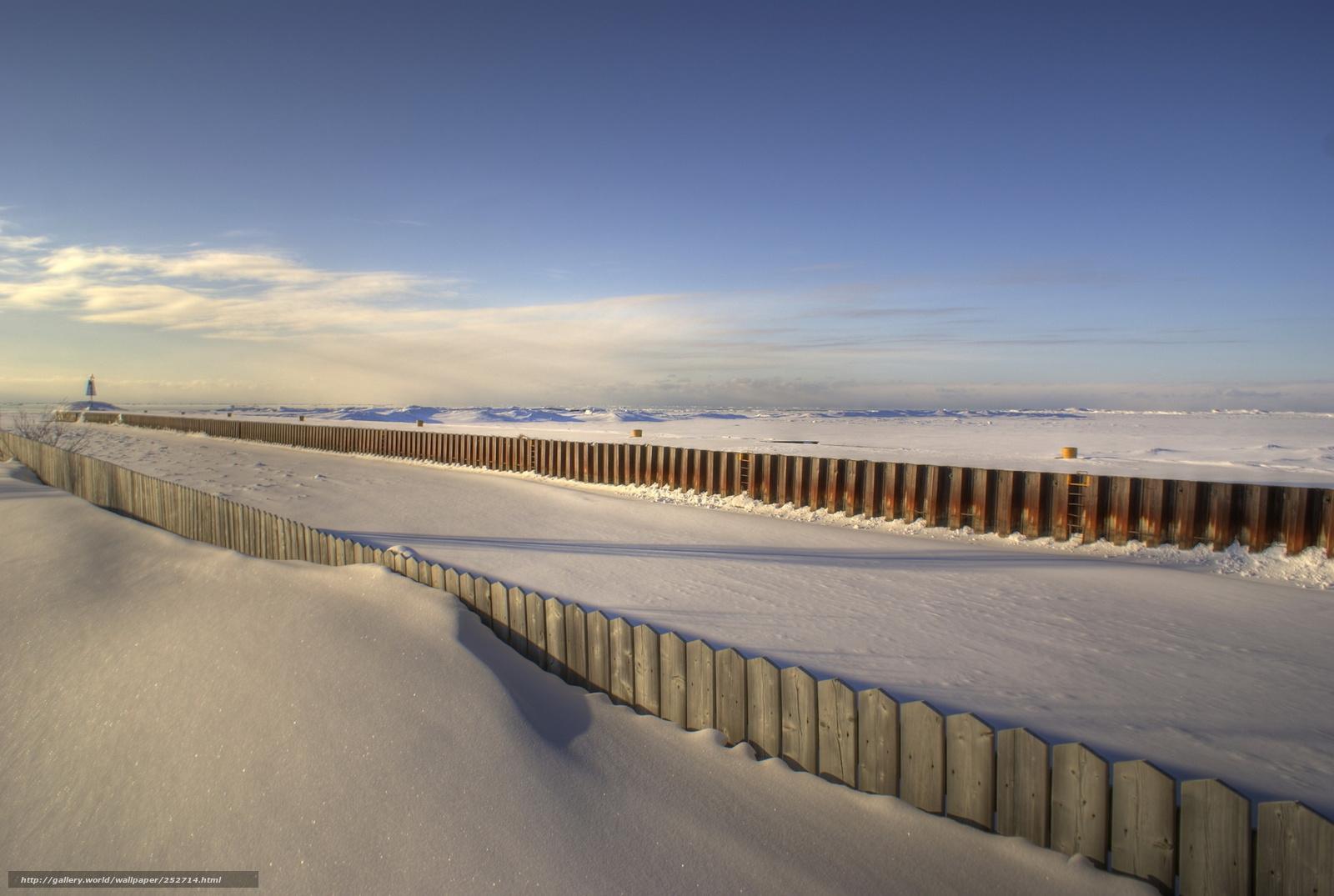 Скачать обои пляж,   снег,   заборы бесплатно для рабочего стола в разрешении 1920x1290 — картинка №252714