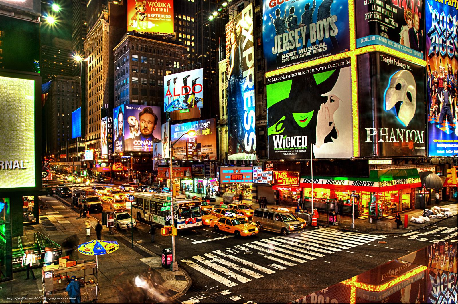 scaricare gli sfondi citt,  notte,  Broadway Sfondi gratis per la risoluzione del desktop 4288x2848 — immagine №253237