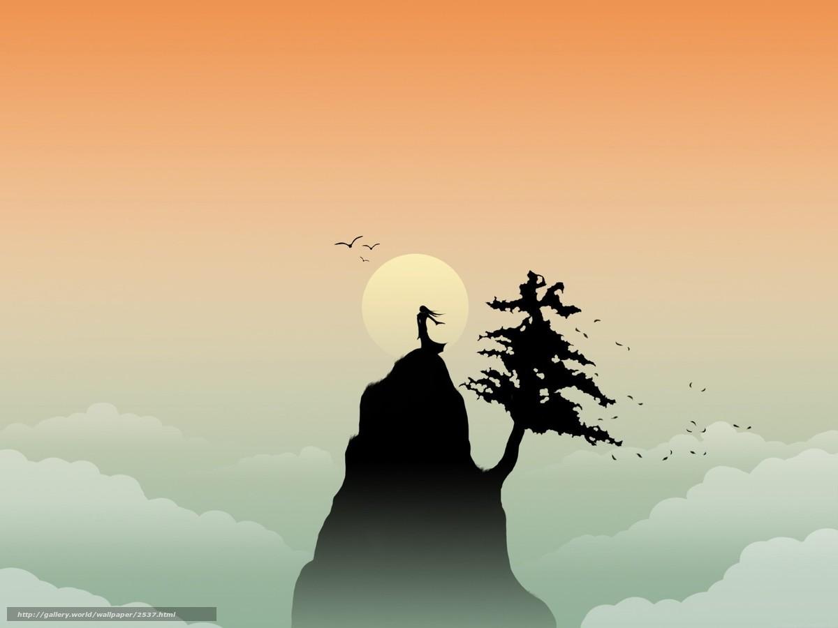Скачать обои гора,  солнце,  вектор,  минимализм бесплатно для рабочего стола в разрешении 1600x1200 — картинка №2537