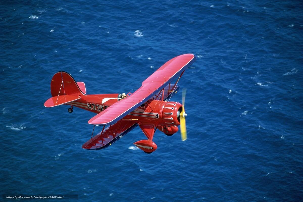 Скачать обои биплан,  красный,  море бесплатно для рабочего стола в разрешении 1999x1333 — картинка №2567