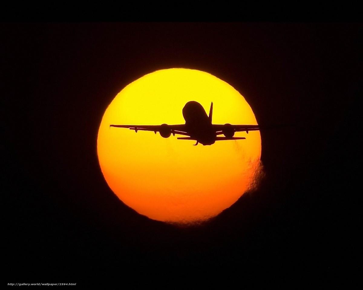 Скачать обои солнце,  самолет,  полет бесплатно для рабочего стола в разрешении 1280x1024 — картинка №2594
