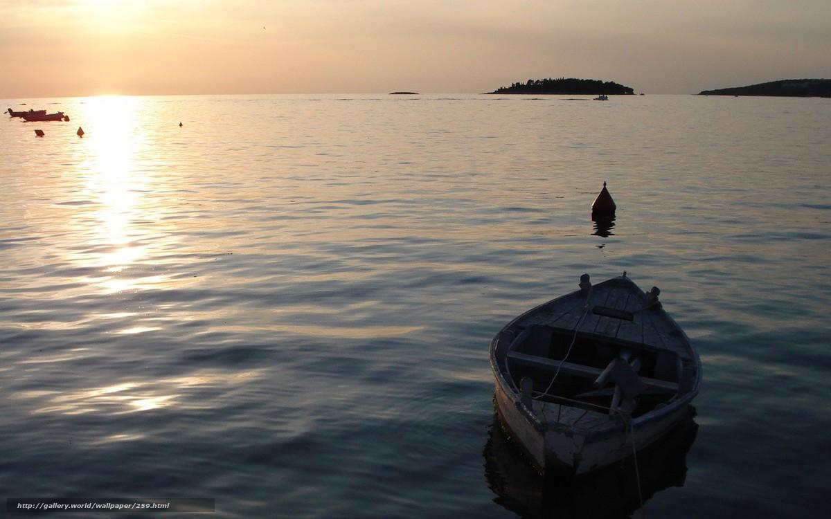 Скачать обои море,  лодка,  волны,  вода бесплатно для рабочего стола в разрешении 1280x800 — картинка №259